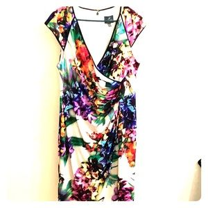 Beautiful floral capped sleeved dress fully lined